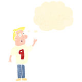 Retro cartoon man in number shirt nine with thought bubble Stock Photography