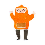 Retro cartoon man in orange hooded top Stock Photography