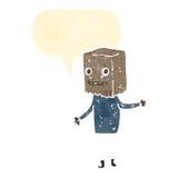Retro cartoon man with paper bag on head Royalty Free Stock Image