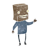 Retro cartoon man with paper bag on head Stock Images