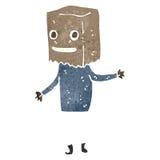 Retro cartoon man with paper bag on head Stock Photo