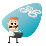 Retro cartoon man playing with drone Royalty Free Stock Photo