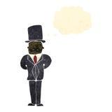 Retro cartoon man in posh suit. Retro cartoon with texture. Isolated on White Stock Photo