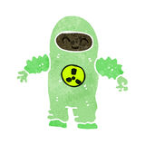 Retro cartoon man in protective suit Stock Photography