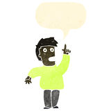 Retro cartoon man shouting warning. Retro cartoon with texture. Isolated on White Royalty Free Stock Photos