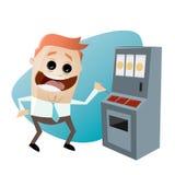 Retro cartoon man with slot machine Stock Image