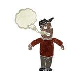 retro cartoon man with smoker's breath Stock Photography