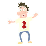 Retro cartoon man in sports shirt with number Royalty Free Stock Image
