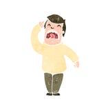 Retro cartoon man straining to hear Stock Photo