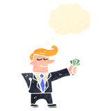 Retro cartoon man in suit with cash Royalty Free Stock Photo