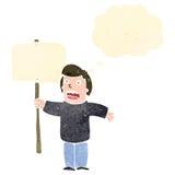 retro cartoon man waving placard Stock Image