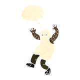 Retro cartoon man wearing ghost costume Stock Photo