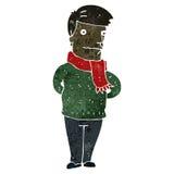 Retro cartoon man wearing scarf Stock Photo
