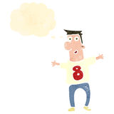 Retro cartoon man wearing shirt number eight Stock Image
