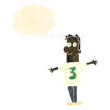 Retro cartoon man wearing shirt with number three Stock Photography
