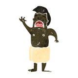 retro cartoon man wearing towel Stock Photo