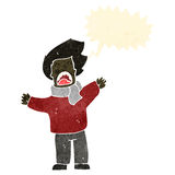Retro cartoon man in windy weather Stock Photo