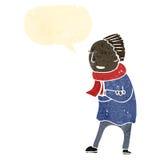 Retro cartoon man in winter scarf Royalty Free Stock Photo