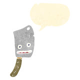 Retro cartoon meat cleaver with speech bubble Stock Image