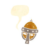 Retro cartoon medieval helmet with speech bubble Royalty Free Stock Photography