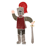Retro cartoon medieval knight Stock Photos