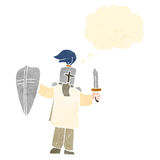 Retro cartoon medieval knight with thought bubble Stock Photos