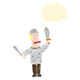 Retro cartoon medieval soldier Royalty Free Stock Photos