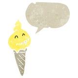Retro cartoon melting ice cream cone Royalty Free Stock Photography