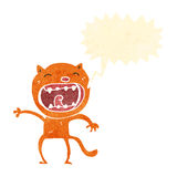 Retro cartoon meowing cat Stock Photo