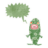 Retro cartoon monster fish with speech bubble. Retro cartoon with texture. Isolated on White Royalty Free Stock Photo