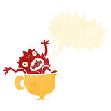 retro cartoon monster in teacup Stock Photo