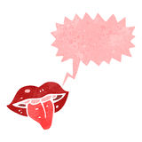 Retro cartoon mouth with speech bubble Stock Image