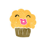 Retro cartoon muffin with face Stock Photography