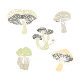 Retro cartoon mushrooms Royalty Free Stock Photo