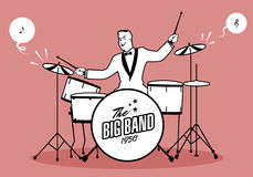 Retro cartoon music. Drummer player playing a song. Musical note Royalty Free Stock Photos