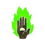 Retro cartoon mystic hand symbol Royalty Free Stock Photo