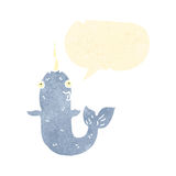 Retro cartoon narwhal Stock Photo