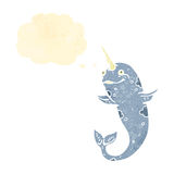 Retro cartoon narwhal with thought bubble Stock Photography