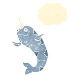 Retro cartoon narwhal with thought bubble Royalty Free Stock Photos
