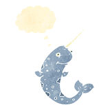 Retro cartoon narwhal with thought bubble Royalty Free Stock Photo