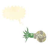 Retro cartoon nautilus squid Royalty Free Stock Photos