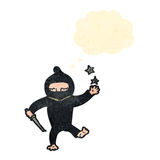 retro cartoon ninja with thought bubble Stock Photography