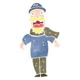 Retro cartoon old fisherman Stock Image