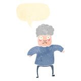 Retro cartoon old lady with speech bubble Stock Photos