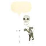 Retro cartoon old man skeleton Stock Images