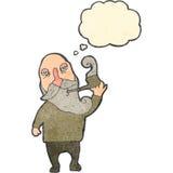 retro cartoon old man smoking pipe Stock Image