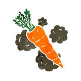 Retro cartoon organic carrot Stock Photos