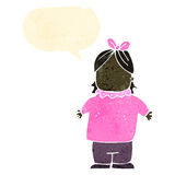 Retro cartoon overweight girl with speech bubble Royalty Free Stock Photography