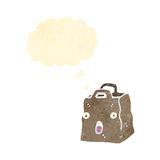 retro cartoon paper bag with thought bubble Royalty Free Stock Photography