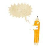 retro cartoon pencil with speech bubble Royalty Free Stock Image